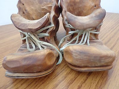 "Pair of Vintage Hand Carved Old Wooden Cobbler Shoes Boots 7.25"" x 3.5"""