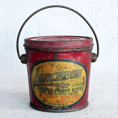 Antique 1920s Mini Luncheon Brand Peanut Butter Bucket Tin Pail Alameda Calif