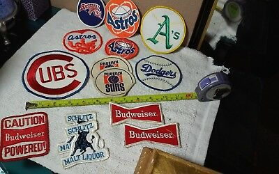 lot of vintage beer and sports patches cubs,Budweiser Etc 1sticker