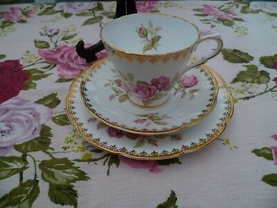 Lovely Vintage Collingwood's English China Trio Tea Cup Saucer Pink Rose