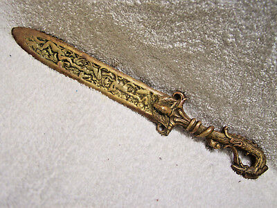 Antique Brass Bronze Griffin Snake Figural Ornate Letter Opener
