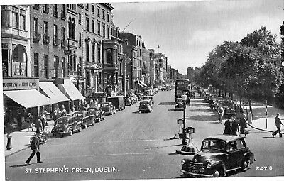 ST STEPHENS GREEN DUBLIN IRELAND VALENTINES IRISH POSTCARD R3718 POSTED in 1954