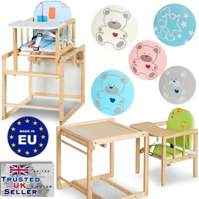 Baby Wooden high Chair 3in1 with cushion & harness play table - highchair colour
