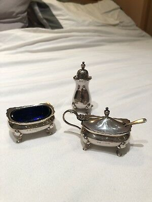 antique solid silver cruet set