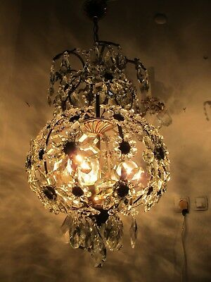 Antique Vnt French Big Cage Style Crystal Chandelier Lamp 1940s 16in diametr RRR