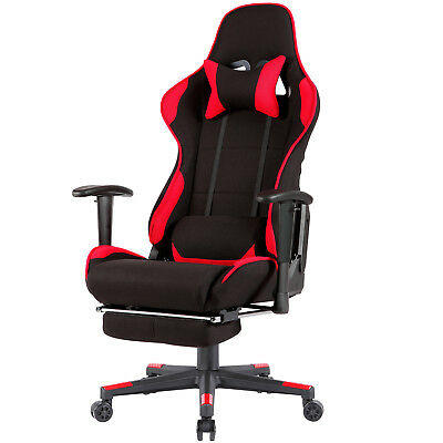 Red Office Gaming Chair Racing Seats Computer Chair Executive w/ Footrest Rocker