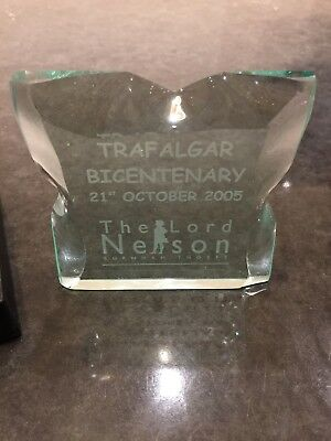 Lord Nelson presentation piece .. ice glass engraved ( unique piece of history)