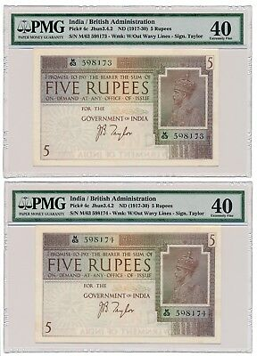 INDIA banknote 2 x 5 RUPEES 1917. serial in row PMG grade XF-40