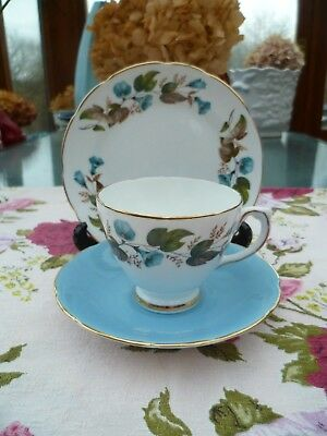 Lovely Vintage Delphine English China Trio Tea Cup Saucer Plate Blue Floral