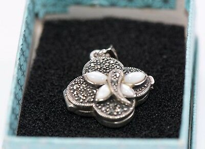 Antique 925 Silver, Mother of Pearl and Marcasite Vinaigrette