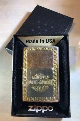 2000 Zippo Lighter: Harley Davidson Emblem engraved on front - Chrome