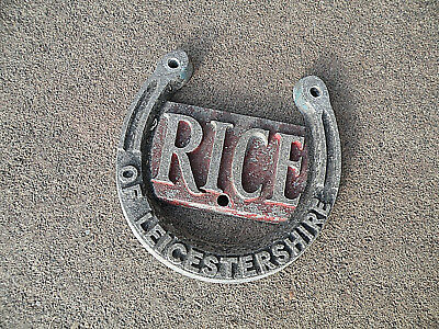 Rice of Leicestershire Badge Plaque Horse Trailer  Cast Aluminium Vintage
