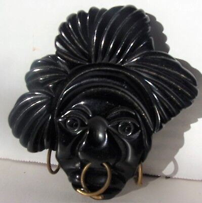 Vintage Hand Carved Lucite Black Americana Figural Pin/Brooch Nose-Earrings Rare