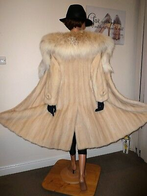 Real Mink Fur Pearl White Coat Belt Spotted Fox Lynx Markings Норка Рысь 8 - 10