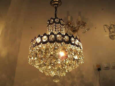 Antique French Basket Style Crystal Chandelier Lamp 1940s Ø 12in diameter
