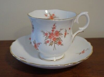 Crown Staffordshire England Floral Fine Bone China Cup & Saucer Gold Trim A801