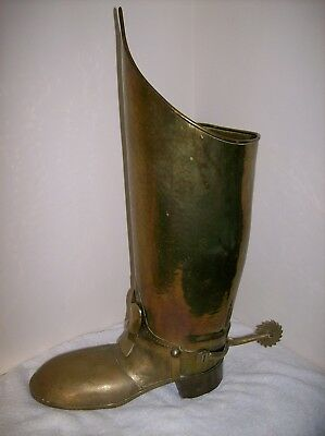 Umbrella Stand Brass Boot Lombard Hammered English Stick Coachman's Victorian