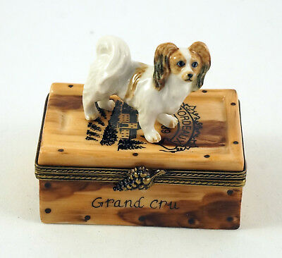 New French Limoges Trinket Box Cute Papillon Dog Puppy On French Wine Crate