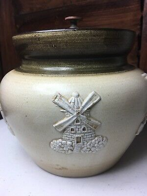 Bourne Denby Derby Tobacco Jar Humidor with Lid Screw-Down Made in England