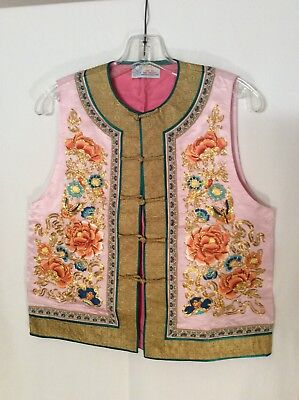 Beautiful Vintage Chinese Hand Embroidered Pure Silk Vest