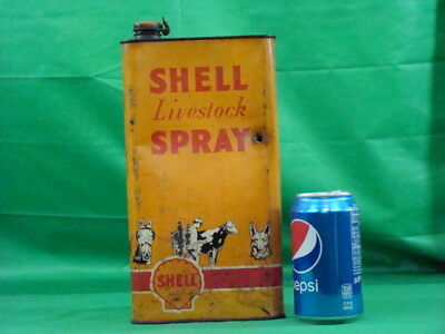 Vintage Oil Can Shell Farm Livestock spray Tin Auto Garage Gas Station display