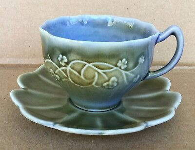 Vtg Wade Irish Porcelain Cup and Saucer Set Blue Green Lily Pad - NICE!
