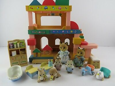 Sylvanian Families Primrose Nursery Rare Renard Foxes and Babies and Accessories