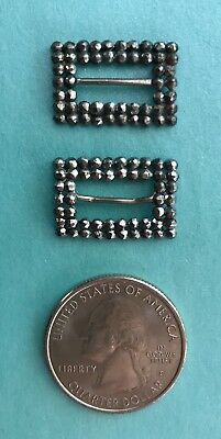 2/Victorian Antique VERY TINY STEEL CUT METAL DOLL BUCKLES Choker France French