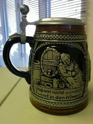 vintage German beer Stein tankard monks