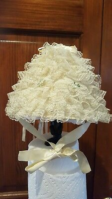 Vintage Baby Christening Bonnet Hat Cap Lace And Ribbon