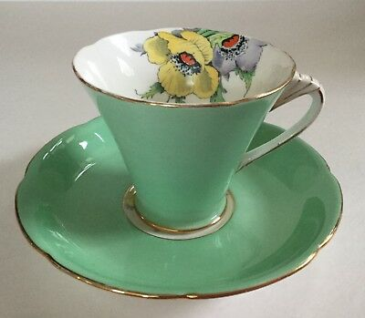 Royal Grafton Bone China Tea Cup and Saucer Mint Green and Yellow/Lavender Poppy