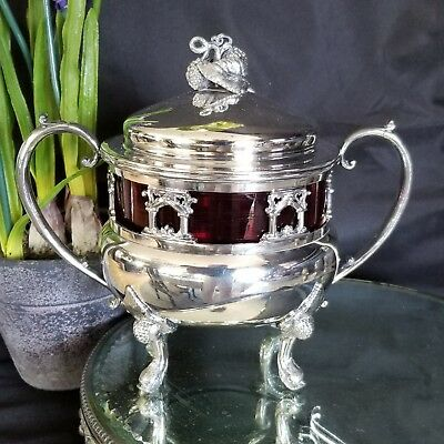 Antique covered sugar bowl : FIGURAL and ART GLASS