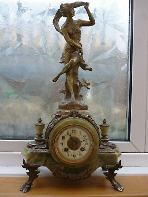 antique onyx figural mantel clock-works but chime dose not-so -spares/repairs