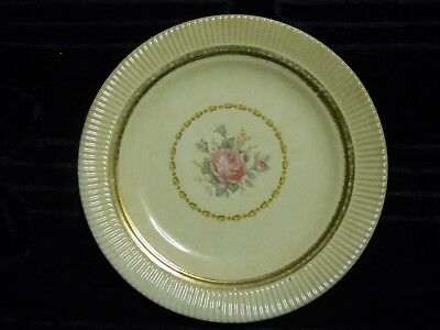 "Salem China Co. Victory Pattern 7 "" Saucer Pink Rose 22 K gold trim"