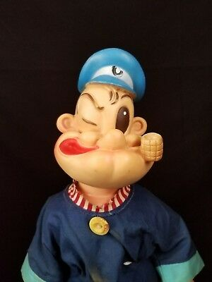 """Vintage 1958 POPEYE Gund Doll By King Features Syndicate 21"""" Vinyl Sailor Man"""