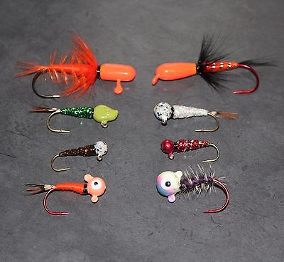 8 Ice Fishing Jigs - Hand Tied Jigs for Ice Fishing, Casting, Float Fishing