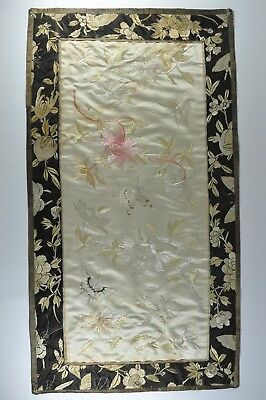 Fine Old China Chinese Silk Embroidery Embroidered Flower Butterfly Scholar Art