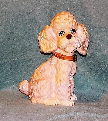 """Vintage Holiday Fair 1972 Plaster Poodle Bank 11"""" Tall"""