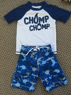 Boys 3t Swim Trunks And Rashguard Sharks