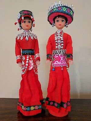 ON SALE - Four Chinese Doll - decorative dolls with ethnic costumes on a stand