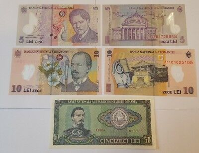 5 Romania Banknotes, 5 Lei (2), 10 Lei (2), and 50 Lei, P-96 P-118 P-119 all UNC