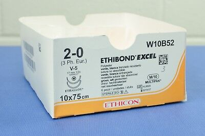 ETHICON W10B52 Ethibond Excel Polyester Braided Suture 2-0, 10x 75cm, Pack of 3