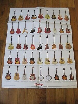 Epiphone Promo Poster Casino Electric Acoustic Guitars gibson music store RARE