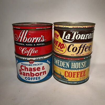 Lot Of 4 Vintage Coffee Cans Tins Sweden House Aborns LaTouraine Chase Sanborn