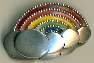 70's Sterling Silver Shaped Clouds w/Rainbow Medallion