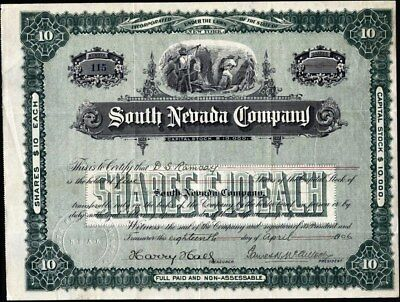 South Nevada Co, 1906, Property In Goldfield, Bullfrog & Searchlight, Nevada