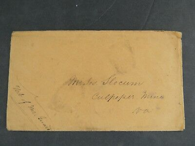 1852 CULPEPPER GOLD MINE STAMPLESS  LETTER w COVER - VIRGINIA