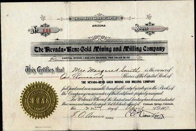 Nevada = Reno Gold Mining And Milling Co, 1907, Property In Goldfield, Nv, Uncan
