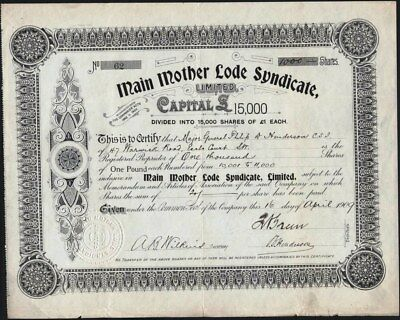 Main Mother Lode Syndicate, Limited, 1909, Issued To Major General Henderson