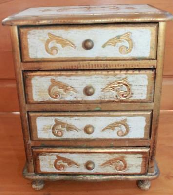 Vintage FLORENTINE GILT Italian Toleware Small CHEST OF DRAWERS Jewelry Box